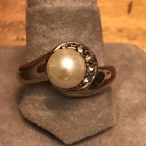 Pearl and small stones on sterling silver ring